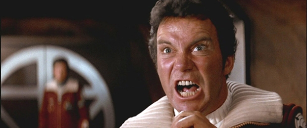 Kapten Kirk har en dålig dag, fast i mitten av en död planet, i Star Trek II: The Wrath of Khan