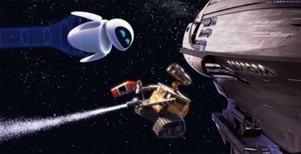 Eve och Wall-E dansar i rymden