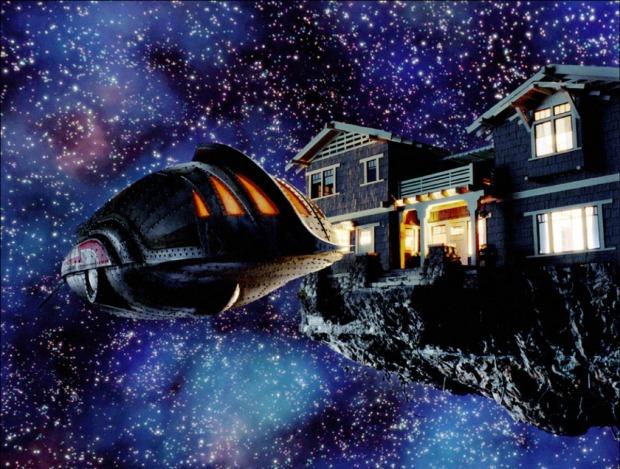 Då familjens hus åker ut i rymden attackeras det av diverse faror