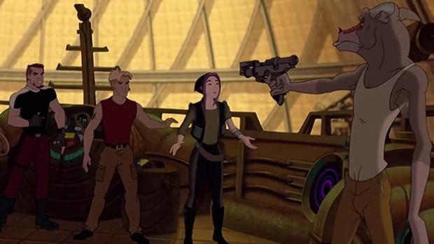 Kapten Korso, Cale och Akima  blir hotade av styrman Preed