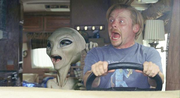 Simon Pegg och Nick Frost möter en alien, Paul (röst: Seth Rogen)