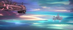Skeppen hämtar sin inspiration från 1930-talets Flash Gordon, och svävar omkring i psykedeliska skyar