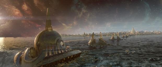 Maskhålsgeneratorn med bifrost, och Asgård i bakgrunden