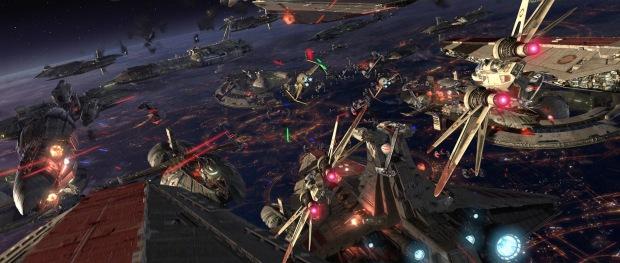Öppningen är storslagen, strid ovanför Coruscant för att frita senator Palpatine