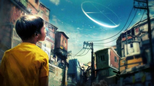 "Concept art från Elysium: ""Child looks up at Elysium from Earth"""