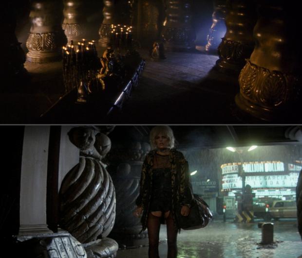 Övre bilden: Darkness tronrum i Legend, nedre bilden: Blade runner