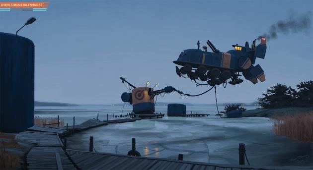 Svenska vinterlandskap med robotar och rymdskepp i Simon Stålenhags målningar