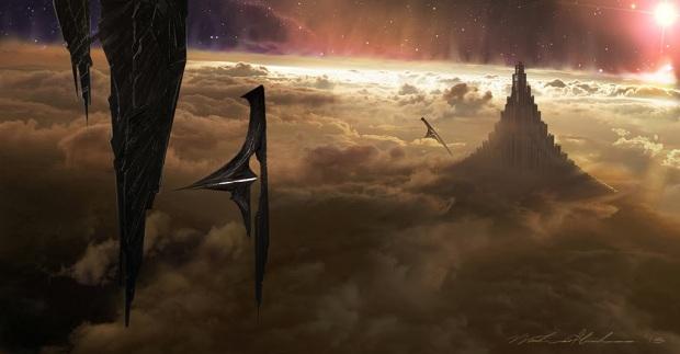 Fantasy möter sci-fi på ett aptitligt vis: mörkalvernas rymdskepp invaderar Valhall