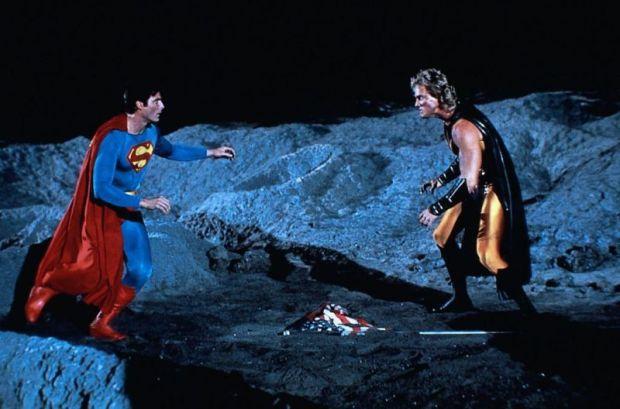 Christopher Reeve (Superman) och Mark Pillow (Nuclear Man)