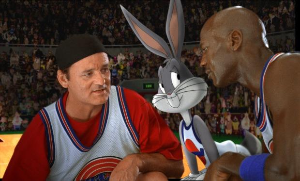 Bill Murray, Snurre Sprätt och Michael Jordan i Space Jam